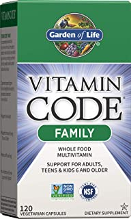 Garden of Life Multivitamin for Women, Men & Kids Age 6 and up, Vitamin Code Family Multi - 120 Vegetarian Capsules, Whole...