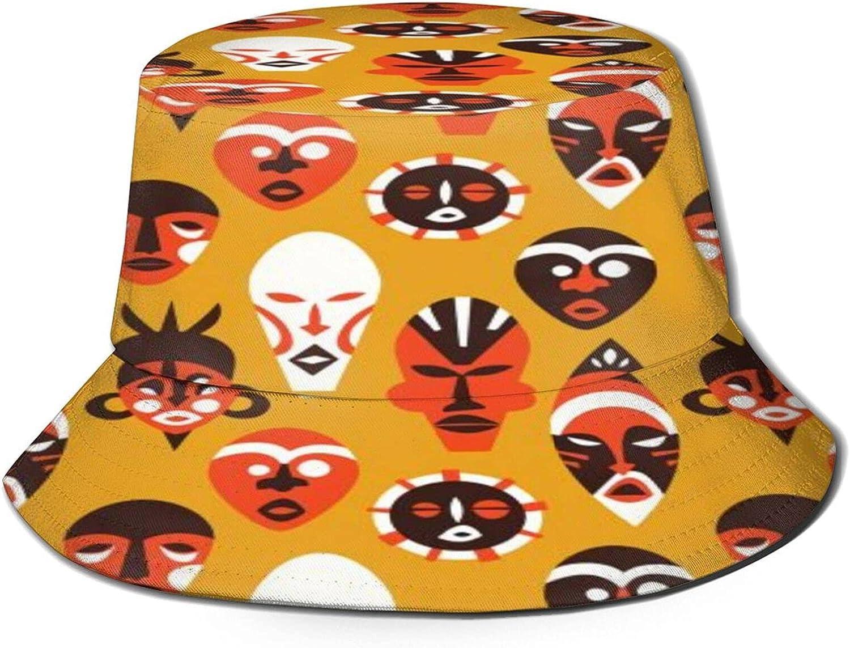 Houston Mall Tribal African Mask Art Bucket Packabl Hat free Unisex Sun Summer