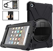 Fire 7 Tablet Case 2019 for Kids,Fire 7 Case TSQ Full Body Heavy Duty Shockproof Hard Rugged Protective Rubber Case with Handle Hand Strap/Stand/Shoulder Strap for Fire 7 Tablet 9th Generation,Black