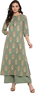 Janasya Women's Olive Green Cotton Kurta With Palazzo