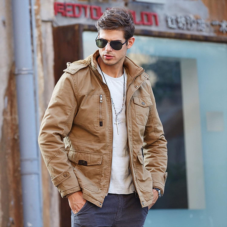 Men's Thick Parka Fleece Lining Cotton Jackets Warm Fleece Lining Jacket with Detachable Hood Work Jackets