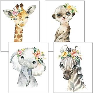 artpin® Set de 4 Affiches pour Chambre d'enfant- posters de bébé Fille - Animaux de la jungle décoration Murale DIN A4 - g...