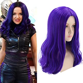 Mersi Mal Wig for Kids Mal Costume Cosplay Wig Long Wavy Purple Wig for Halloween Party S057