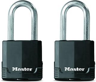 Master Lock Padlock, Magnum Covered Laminated Steel Lock, 2-1/8 in. Wide, M515XTLH (Pack of 2-Keyed Alike)
