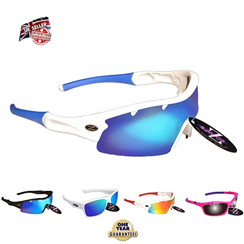56578f6561 Rayzor Professional Lightweight UV400 White Sports Wrap Cricket Sunglasses