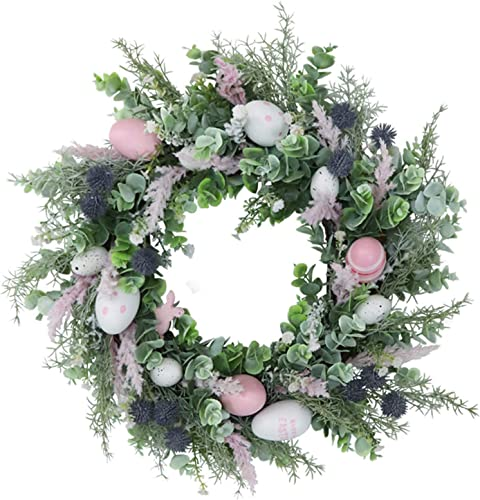 lowest Artifical Easter Egg Wreath with Mixed Flowers,Twigs and 2021 Eggs,for Front Door or Indoor, online sale Wall Decor, Artificial Flower Wreath for Front Door Wall Easter Decorations, 20In outlet sale