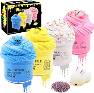 4 Pack Butter Slime with Scent, with Stitch Slime, Unicorn Slime, Pineapple Slime and Peach Slime, Soft, Stretchy and Non-Sticky Party Favor Sludge Toy for Kids,Nice Textured.