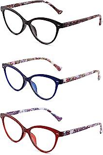 JM 3-pack Mode Ontwerper Kattenoog Leesbril Bril Met Scharnier Voor Lezers Vrouwen +1.5 Mix kleur