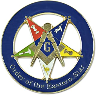 "Patron Order of the Eastern Star Round Blue Masonic Auto Emblem - 3"" Diameter"