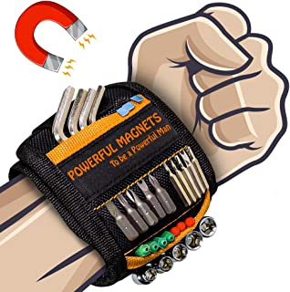 Magnetic Wristband Best DIY Dad Gifts- Gifts Tool for Men Magnetic Tool Wristband with Powerful Magnets, Father Carpenter Men Gadgets Gifts Magnetic Wristband for Holding Nails Screws Drill