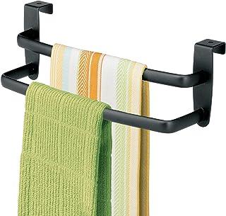 mDesign Porte-serviettes – Porte-torchon à suspendre sur un placard – Accroche torchon pour la cuisine, la salle de bain o...
