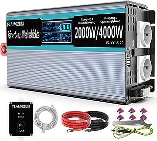 FLAMEZUM zuivere sinus spanningsomvormer 2000 Watt omvormer 12 V naar 230 V sinus omvormer met 2 x AC-stopcontacten, 2 x ...