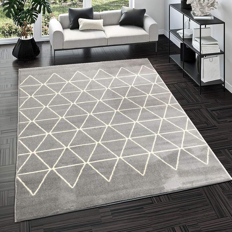 Modern Style Rugs Living Room Rug - Grey & Cream Soft Touch Home Geometric Floor Rug Large (160x225cm)