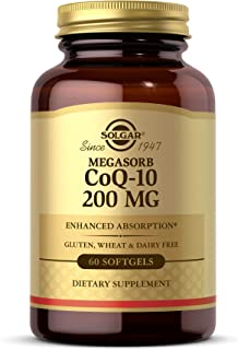 Solgar Megasorb CoQ-10 200 mg, 60 Softgels - Supports Heart & Brain Function - Coenzyme Q10 Supplement - Enhanced Absorpti...