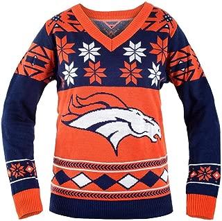 NFL Women's V-Neck Sweater, Denver Broncos, Small