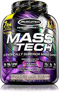 MuscleTech Mass Tech Mass Gainer Protein Powder, Build Muscle Size & Strength with High-Density Clean Calories, Cookies & Cream, 7lbs (3.2kg)