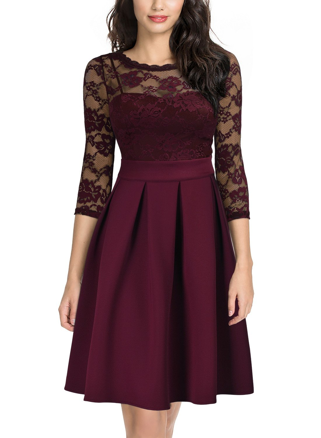Party Dresses - Women's Vintage Floral Lace Bridesmaid Party Dress