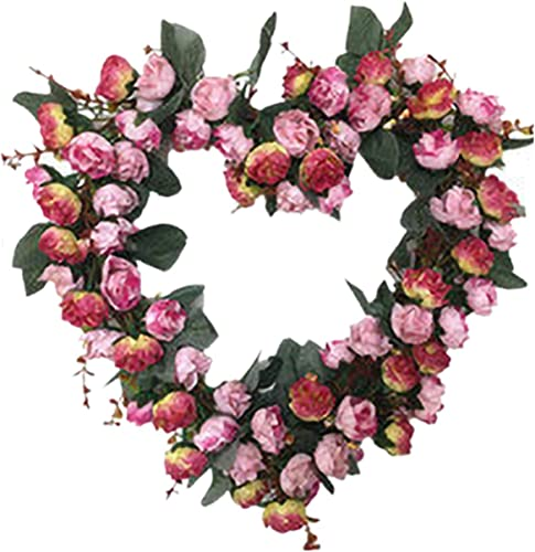 popular 14 online sale Inch Rose Flower Heart Wreath Valentines Day Decor, Peony Flowers Garland Wreath, Handmade Home Decor for Valentine's Day Christmas Party, Simulation popular Rose Flowers Wreath Ornament sale