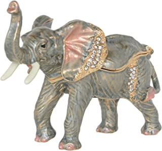 Minihouse Elephant Treasured Trinket Jewelry Ring Box Necklace Container Crystal Jeweled Collectible Gifts for Lovers