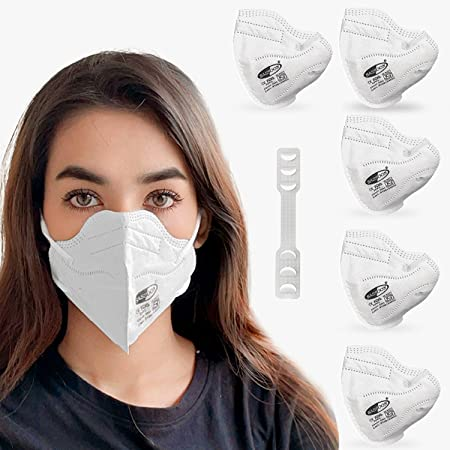 Sassoon Reusable Unisex Anti Fog N95 Mask with Nose Cushion (White pack of 5)