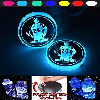 Sponsored Ad - for Kobe Back 2 LED car Logo Coasters, 7 Color Changeable USB Charging mat Light-Emitting Coasters, LED Ind...