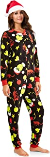 Women's Christmas Pajama Set Grinch, Elf, Frosty, Rudolph Union Suit with Silky Santa Hat