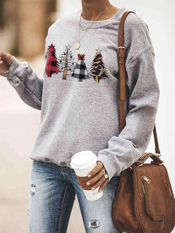 JMETRIE Women/'s Tree Print Plaid Sweatshirt Christmas Shirts Crewneck Long Sleeve Loose Tops
