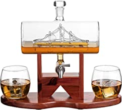 Whiskey Decanter Ship Set - With 2 Glasses and Beautiful Stand Gift for Dad, Husband or Boyfriend by The Wine Savant