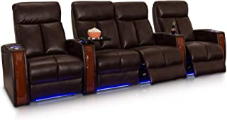 Seatcraft Seville Row of 4 Middle Loveseat Brown Leather Gel Power Recline Home Theater Seating Chairs Powered by SoundShaker
