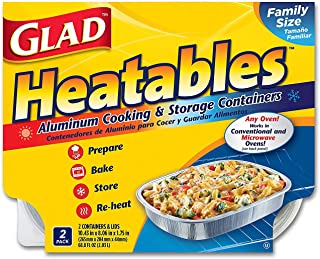 Glad Heatables with Lids, Reusable Aluminum Cooking & Storage Containers, Conventional & Microwave Oven Safe, Dishwasher Safe, Large, Pack of 2