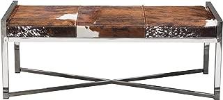 Diamond Furniture MYSTIQUEBEBR Mystique Brown/White Hair on Hide Bench w/ Polished Stainless Steel Frame