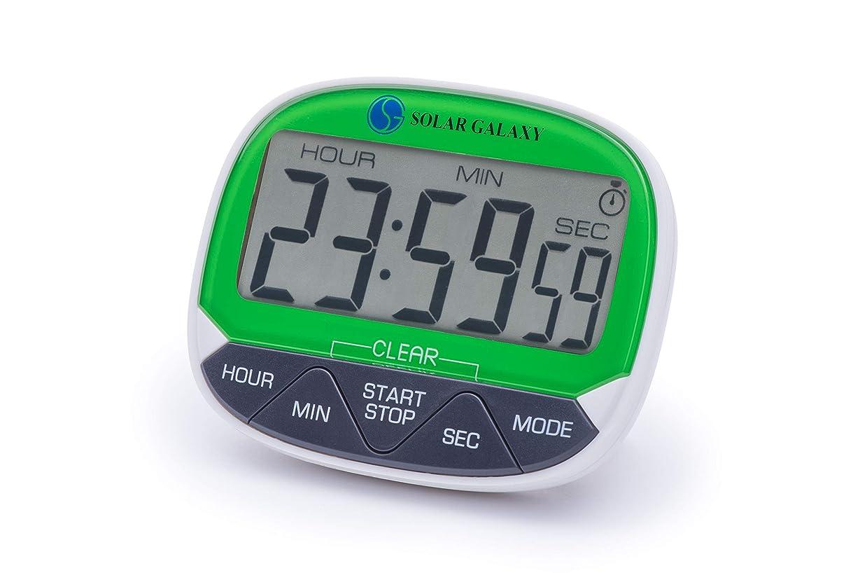 推進、動かすフクロウ感謝するソーラー ギャラクシー 24時間 デジタル キッチン タイマー 目覚まし時計 磁石式裏面 格納式スタンド メモリ機能 12/24時間時計 アラームモード 単4電池別売
