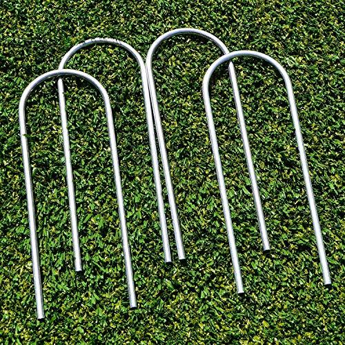 FORZA Sistema di Fissaggio per Porte di Calcio Steel [2 Dimensioni] - Picchetti a U di qualità per Porte di Calcio in PVC (Confezioni da 2, 20 cm Lunghi 6 mm)
