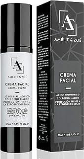 Crema facial de día con colágeno marino para ayudar a la elasticidad de la piel – Crema antiarrugas con efecto hidratante ...