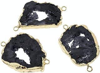 Rose Natural Geode Agate SLICE Plaqué or Boucle d/'Oreille Pendentif Faire Bricolage Connecteur
