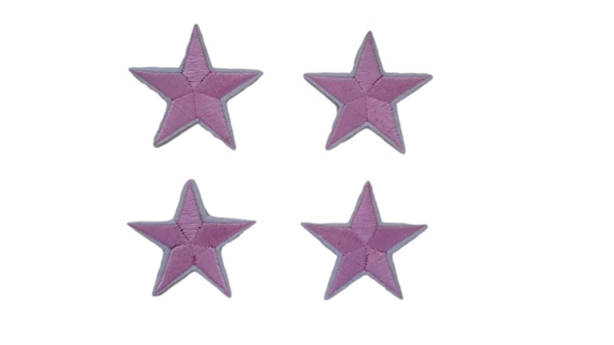4 small pieces PINK STAR Iron On Patch Applique Motif Fabric Children Decal 1.5 x 1.5 inches (3.8 x 3.8 cm)
