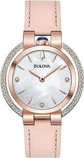 Bulova Womens Quartz Watch, Analog Display and Leather Strap 98R267