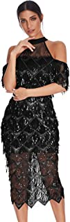 Womens Sparkling Sequin Mermaid Midi Evening Dress Prom Dress