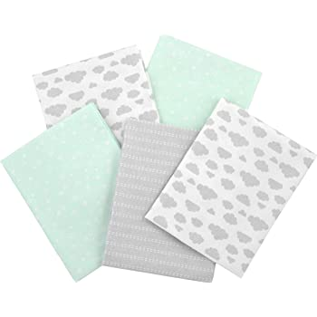 Gerber Boys and Girls Newborn Infant Baby Toddler Nursery 100% Cotton Flannel Receiving Swaddle Blanket, Green, 5-Pack