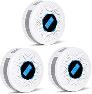 Smoke and Carbon Monoxide Detector Combo - with Sound Warning and LCD Display Battery Powered (AA Battery Not Include) CO ...