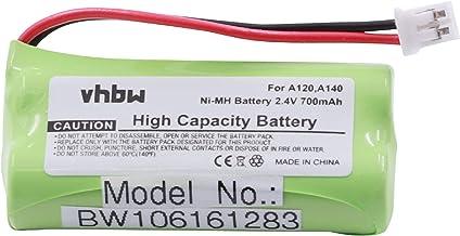 vhbw Batterie NI-MH 700mAh (2.4V) Compatible pour Siemens Gigaset A120, A140, A145, A160, A165, A240, A245, A260, A265.