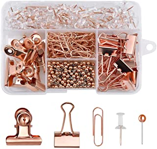 500PCS Rose Gold Office Stationery Set, 100Pcs Drawing Pins+80Pcs Paper Clips+300Pcs Push Pins+14Pcs Binder Clips+6Pcs Bul...