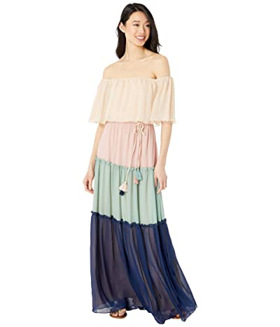 American Rose Lexie Off-the-Shoulder Color-Block Maxi Dress (Peach/Blush/Navy/Sage) Women