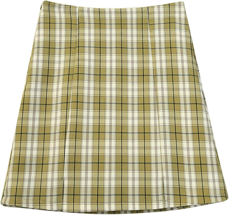 Women's Casual Plaid Bag Hips High Waist Slim Fit Anti-Glare Tight Skirt