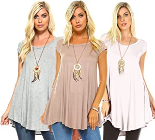Isaac Liev Women's 3-Pack Flowy Short Sleeve Tunic Top - Made in The USA