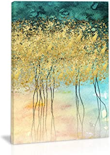 Golden Autumn Tree Leaves Wall Art Decor Modern Abstract Canvas Painting Kitchen Prints Pictures for Home Living Dining Room