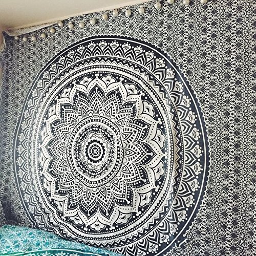 Exclusive Black and White Ombre Tapestry by JaipurHandloom Mandala Tapestry, Queen, Multi Color Indian Mandala Wall Art Hippie Wall Hanging Bohemian Bedspread