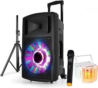 "Enceinte FUZZY12BT LED Batterie 700W 12""/30cm + DERBY KOLOR RVB LED PA DJ"