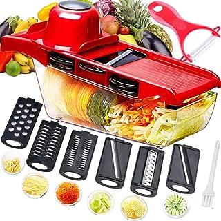 Trancheuse Mandoline multifonctionnelle,coupe-légumes,broyeur de nourriture,hachoir à râpe,6 lames tranchantes en acier in...