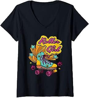 Womens Roller Girl Outfit Costume Womens Girls Vintage Roller Girl V-Neck T-Shirt